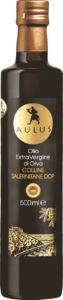 Bottle of AULUS Colline Salernitane DOP extra virgin olive oil